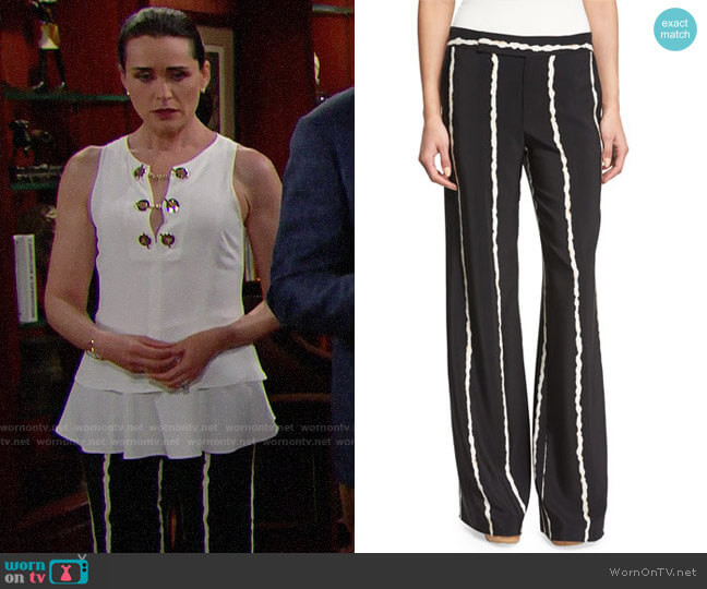 Derek Lam 10 Crosby Striped Silk Wide-Leg Trousers worn by Rena Sofer on The Bold & the Beautiful