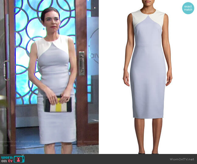 Diane von Furstenberg Colorblock Dress worn by Victoria Newman (Amelia Heinle) on The Young & the Restless