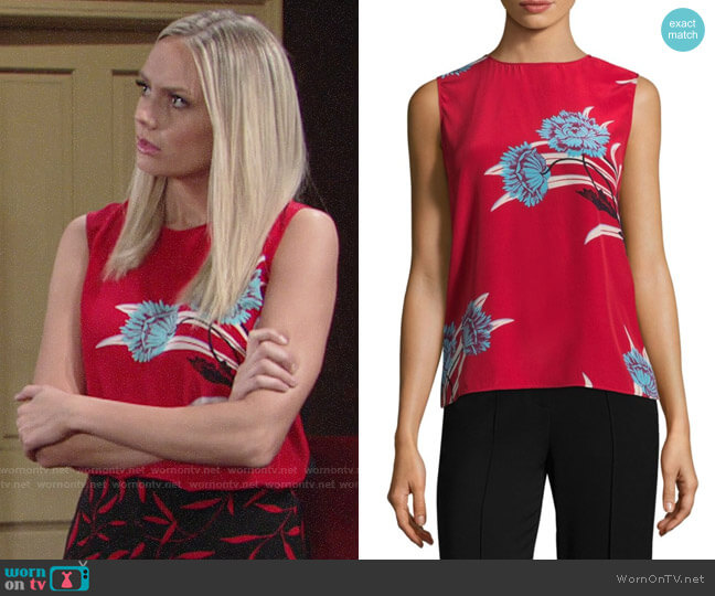 Diane von Furstenberg Colorblock Floral Print Shell worn by Melissa Ordway on The Young & the Restless