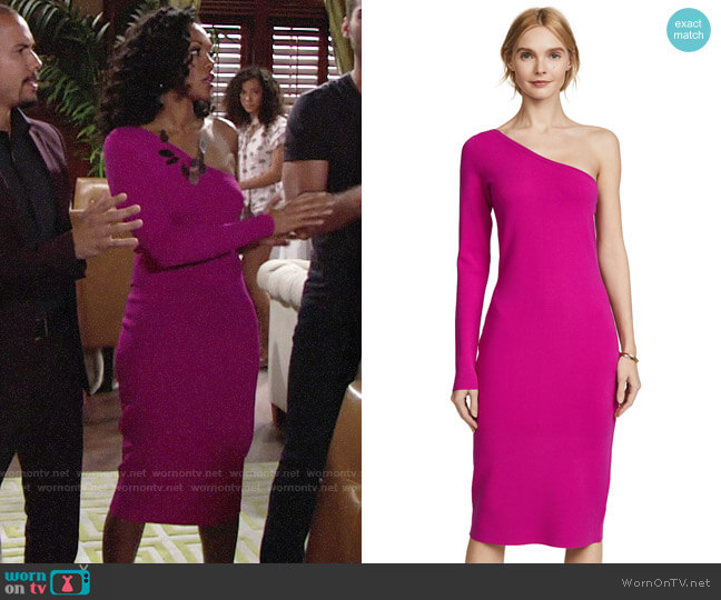 Diane von Furstenberg One Shoulder Knit Dress worn by Hilary Curtis (Mishael Morgan) on The Young & the Restless