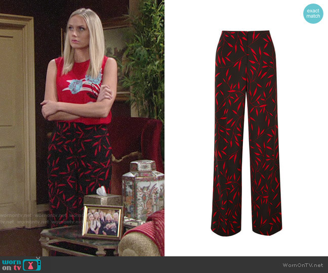 Diane von Furstenberg Floral Print Wide Leg Pants worn by Melissa Ordway on The Young & the Restless