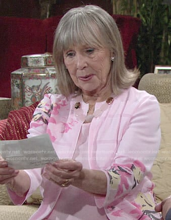 Dina's pink floral jacket on The Young and the Restless