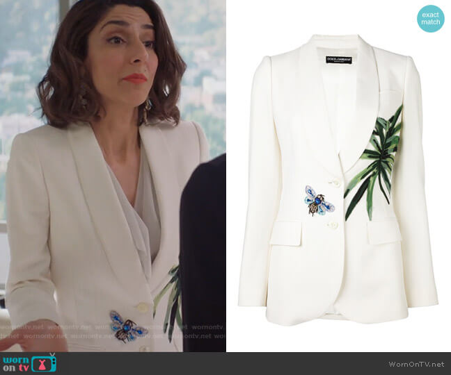 Banana Leaf Patch Blazer by Dolce & Gabbana worn by Necar Zadegan on GG2D