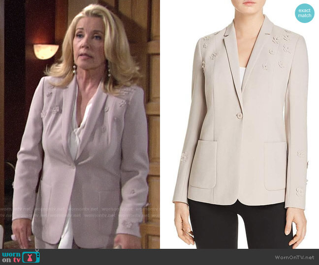 Elie Tahari Wendy Floral Applique Blazer worn by Nikki Reed Newman (Melody Thomas-Scott) on The Young & the Restless