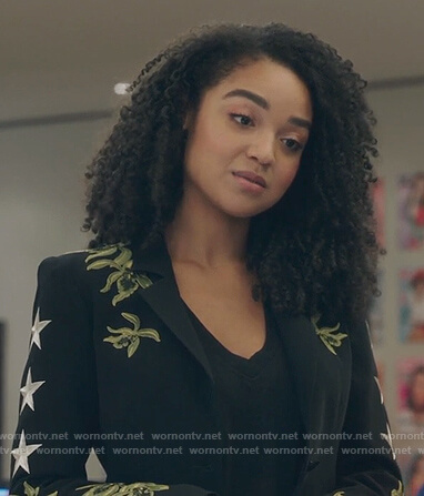 Kat's black embroidered blazer on The Bold Type