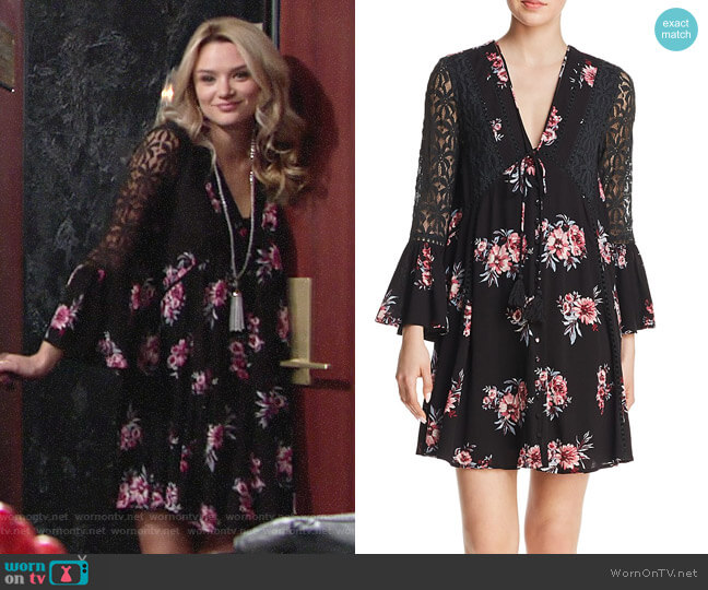 En Creme Lace-Inset Floral-Print Dress worn by Hunter King on The Young & the Restless