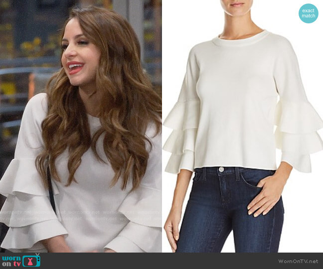 Endless Rose Tiered Sleeve Sweater worn by Sofia Rodriguez (Aimee Carrero) on Young & Hungry