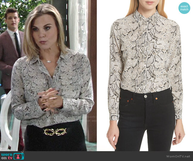 Equipment Slim Signature Python Print Shirt worn by Gina Tognoni on The Young & the Restless