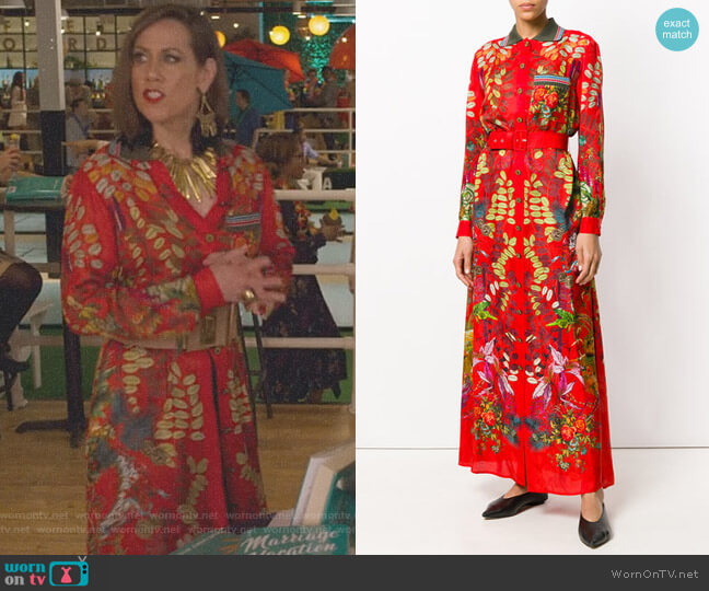 Floral Belted Dress by Etro worn by Miriam Shor on Younger