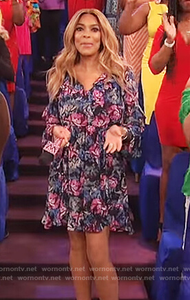 Wendy's floral print ruffled mini dress on The Wendy Williams Show