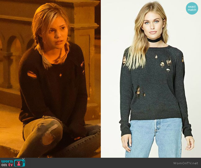 Forever 21 Contemporary Distressed Sweater worn by Olivia Holt on Cloak & Dagger