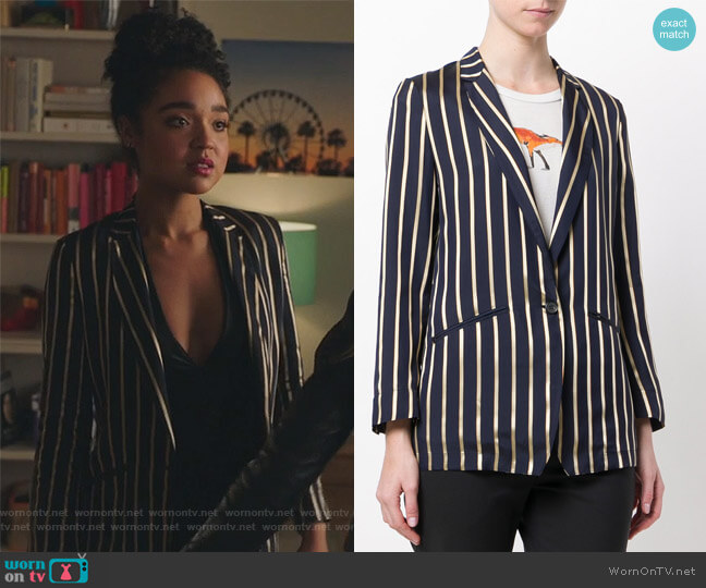 Woven Stripe Blazer by Forte Forte worn by Kat Edison (Aisha Dee) on The Bold Type