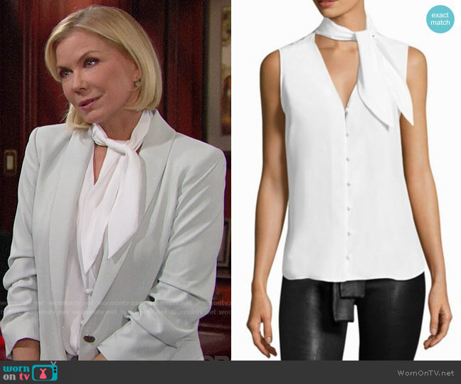 Frame Sleeveless Silk Scarf Blouse worn by Brooke Logan (Katherine Kelly Lang) on The Bold & the Beautiful