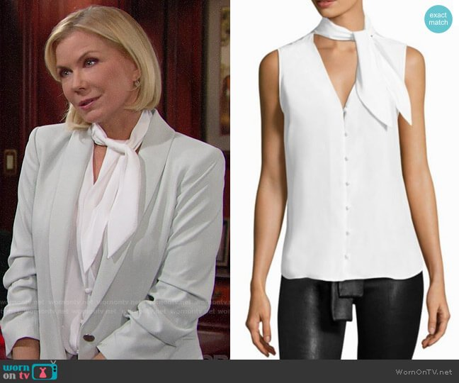 Frame Sleeveless Silk Scarf Blouse worn by Katherine Kelly Lang on The Bold & the Beautiful