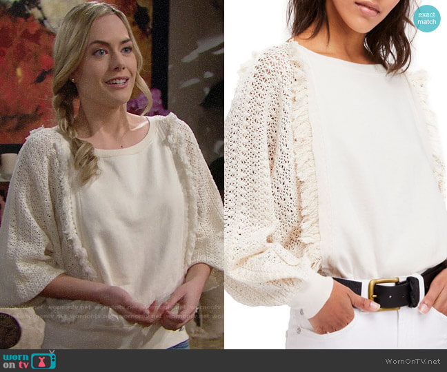 Free People Faff Fringe Sweater worn by Annika Noelle on The Bold & the Beautiful