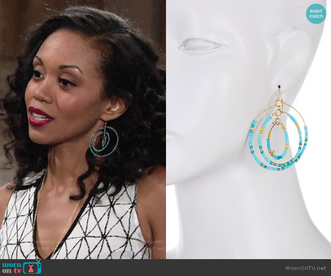 Free Press Seed Bead Multi Layer Open Hoop Dangle Earrings worn by Mishael Morgan on The Young & the Restless