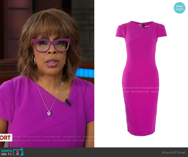 Fuchsia Ranby Cap Sleeve Dress by Roland Mouret worn by Gayle King  on CBS This Morning