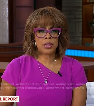 Gayle's purple asymmetric neck dress on CBS This Morning