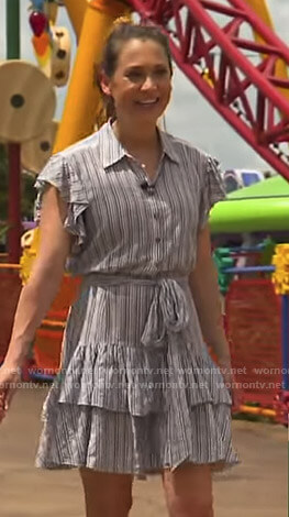 Ginger's striped ruffled shirtdress on Good Morning America