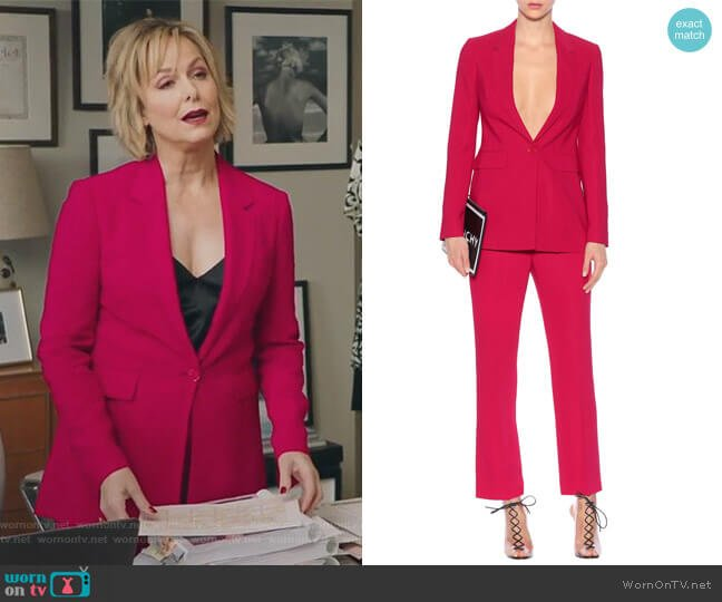 Crepe Blazer and Trousers by Givenchy worn by Melora Hardin on The Bold Type