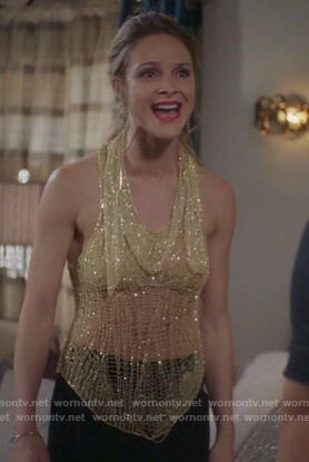 Phoebe's gold metallic web top and matching scarf on Girlfriends Guide to Divorce