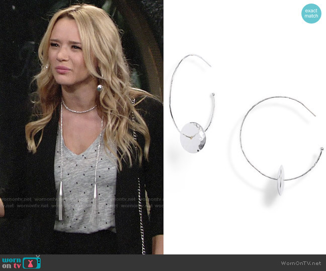 Gorjana Marlow Hoop Earrings worn by Hunter King on The Young & the Restless