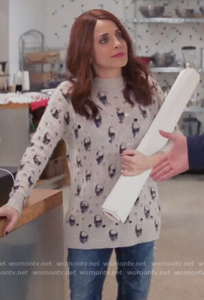 Jo's gray skull print distressed sweater on Girlfriends Guide to Divorce