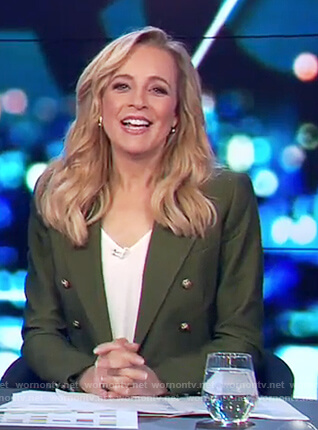 Carrie's green button embellished blazer on The Project