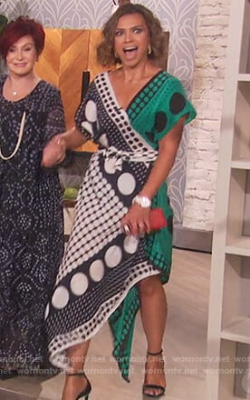 Kristine Johnson's polka dot wrap dress on The Talk