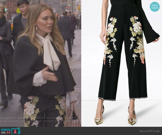 Floral Embroidered Flared Trousers by Gucci worn by Kelsey Peters (Hilary Duff) on Younger