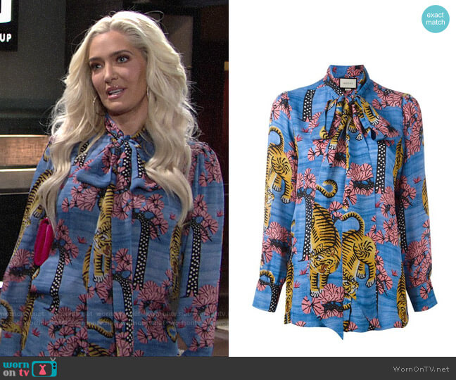 Gucci Bengal Blouse worn by Erika Girardi on The Young and the Restless