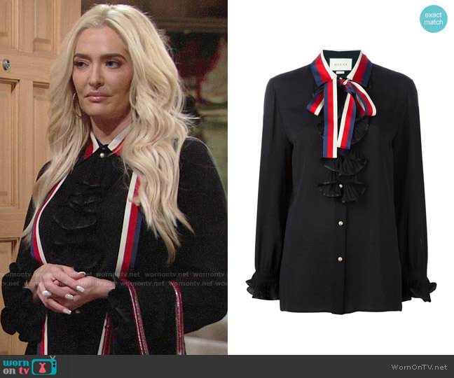 Gucci Contrast Collar Silk Shirt worn by Erika Girardi on The Young and the Restless