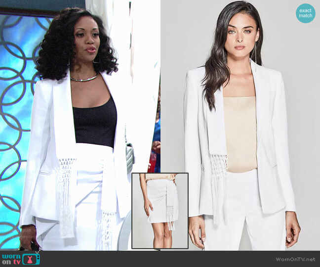 Guess Carlita Fringe Blazer and Skirt worn by Mishael Morgan on The Young & the Restless