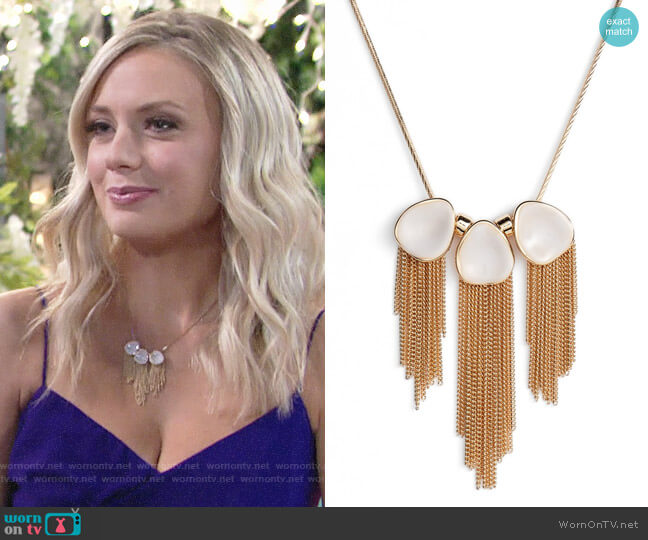 Halogen Painted Petal Fringe Necklace worn by Melissa Ordway on The Young & the Restless
