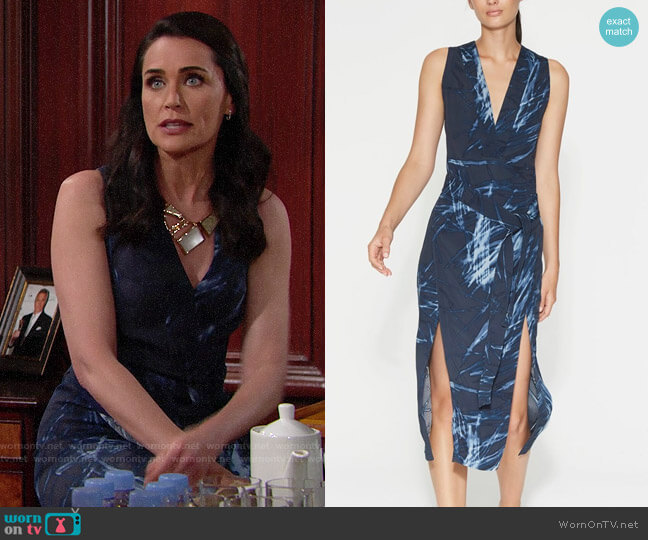Halston Heritage Printed Double-Slit Dress worn by Quinn Fuller (Rena Sofer) on The Bold & the Beautiful