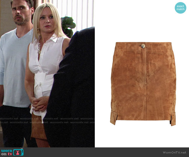 Helmut Lang Suede Mini Skirt worn by Sharon Collins (Sharon Case) on The Young & the Restless