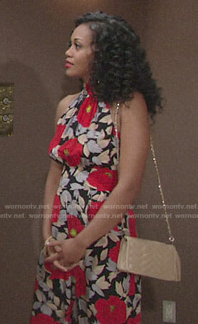 Hilary's floral jumpsuit on The Young and the Restless