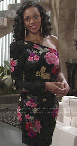 Hilary's floral one-shoulder dress on The Young and the Restless