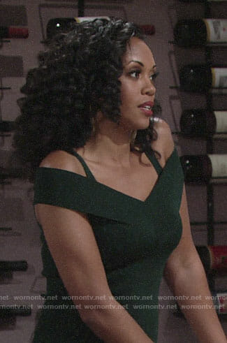 Hilary's green off-shoulder dress on The Young and the Restless