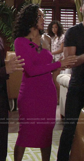 Hilary's pink one-shoulder dress on The Young and the Restless