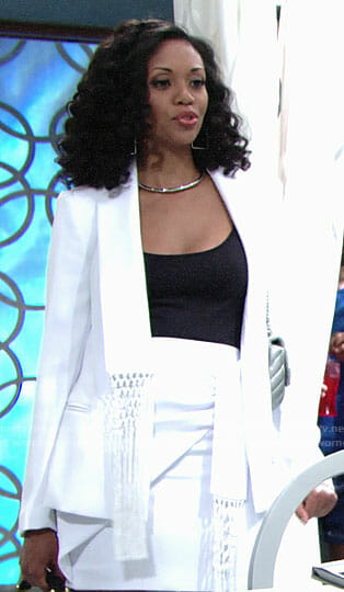 Hilary's white fringed blazer and skirt on The Young and the Restless