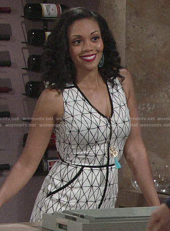 Hilary's white geometric print maxi dress on The Young and the Restless