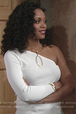 Hilary's white one-shoulder top and oval necklace on The Young and the Restless