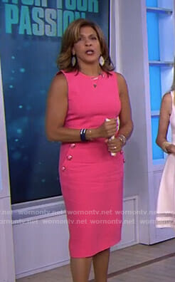 Hoda's pink dress with button details on Today