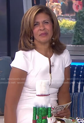 Hoda's white zip front v-neck dress on Today