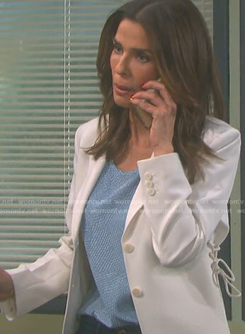 Hope's white lace-up blazer on Days of our Lives