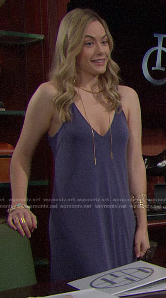 Hope's blue high-low slip dress on The Bold and the Beautiful