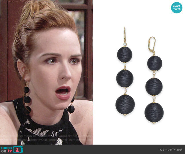 INC International Concepts Gold-Tone Wrapped Ball Triple Drop Earrings worn by Mariah Copeland (Camryn Grimes) on The Young & the Restless