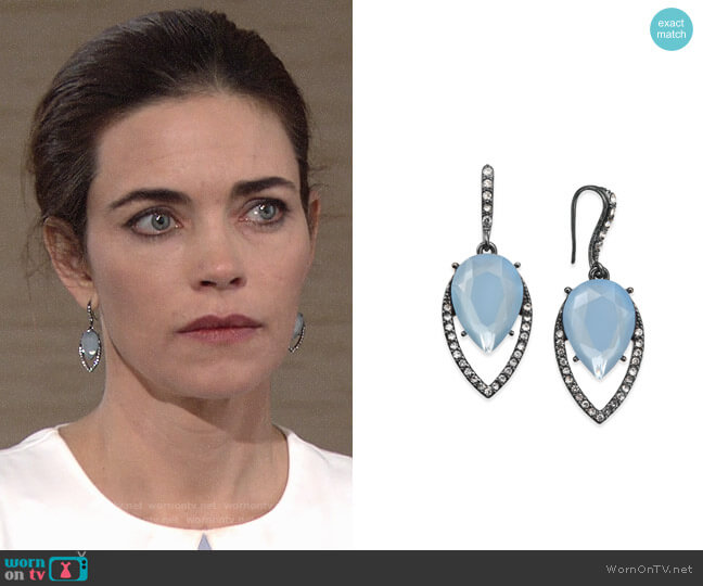 INC International Concepts Hematite-Tone Pavé & Blue Stone Drop Earrings worn by Victoria Newman (Amelia Heinle) on The Young & the Restless