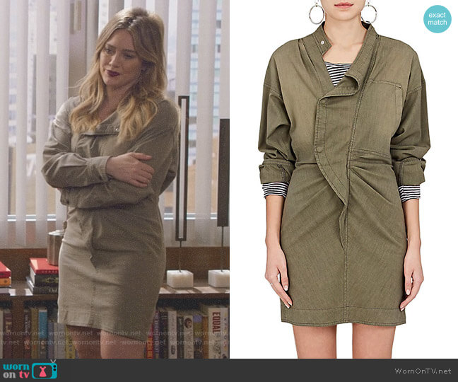 Lindsey Cotton-Blend Shirtdress by Isabel Marant Etoile worn by Hilary Duff on Younger